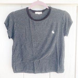 🌈4/$25 LA HEARTS Grey Black Striped Yin Yang Tee
